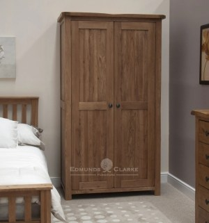 Lavenham solid rustic oak double wardrobe. rustic knobs all hanging wardrobe