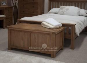 Lavenham solid rustic oak blanket box with piston stay lid
