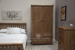 Lavenham Rustic Oak Gents Wardrobe. with drawer below and rustic knobs