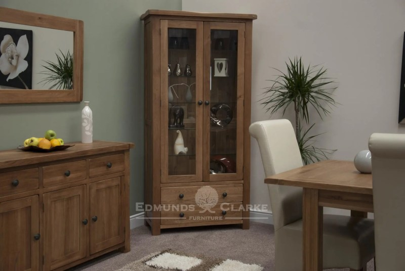 Lavenham Solid rustic oak glass display cabinet with 2 drawers, rustic knobs and 5 adjustable glass shelves