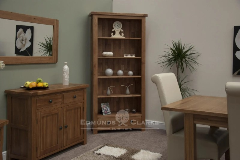 Lavenham Solid Rustic Oak Large Bookcase, 4 adjustable oak shelves, two drawers with rustic round knobs