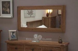 Lavenham Solid Rustic Oak Framed Large Wall Mirror. bevelled mirror that can be hung vertically or horizontally