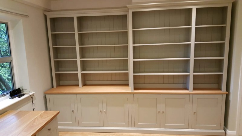 Bespoke Library Bookcase. made of a customer's office . matching desk and filing cabinet