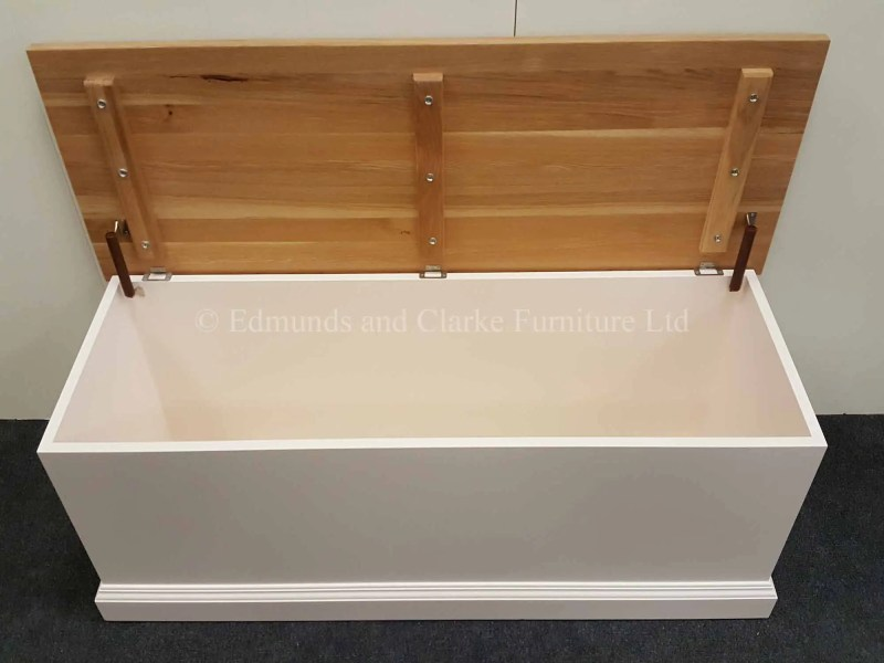 Bespoke white painted blanket box with solid oak lid