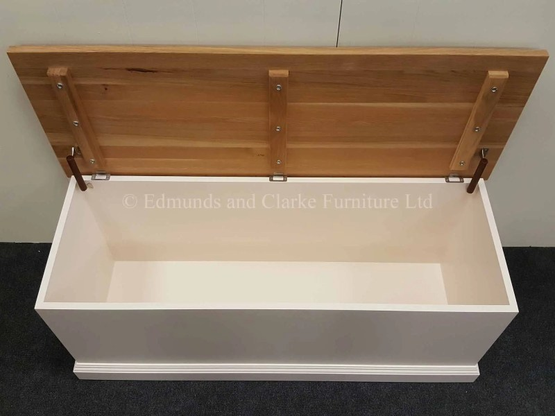 Made to measure painted blanket box with lift up lid made from solid oak