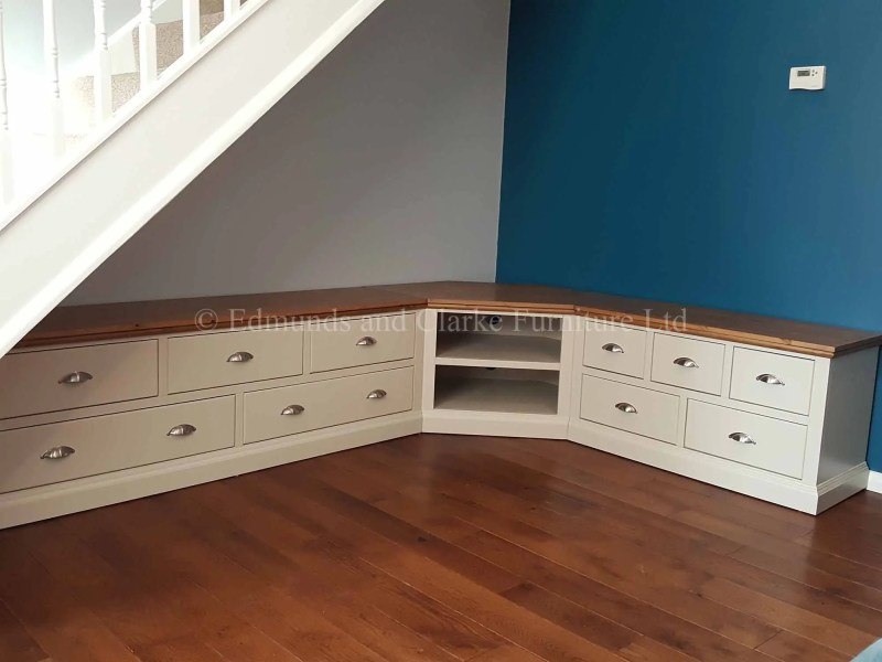 Painted Corner TV Entertainment Storage. satin chrome cup handles and pine top with open shelf in corner peice