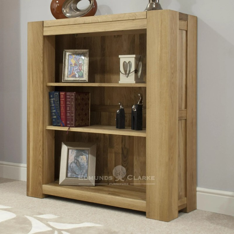 Newmarket chunky solid oak square edge bookcase with two shelves