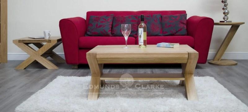 3' x 2' cross leg coffee table solid oak Newmarket
