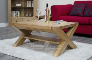 Newmarket 3' x 2' cross leg coffee table with shelf below