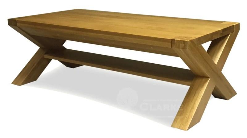 Solid oak cross leg coffee table 4' x 2'