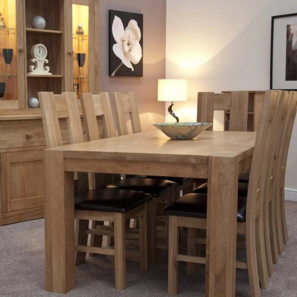 Large Newmarket square leg solid oak dining tab;e