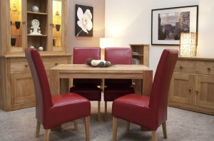 Small square leg solid oak dining table