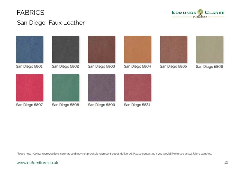 San Diego faux leather swatches for our range of Edmunds dining chairs