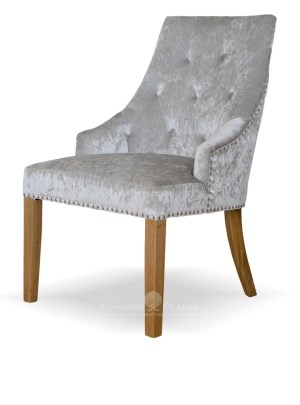 Bergen silver crushed velvet dining chair studded back and oak legs