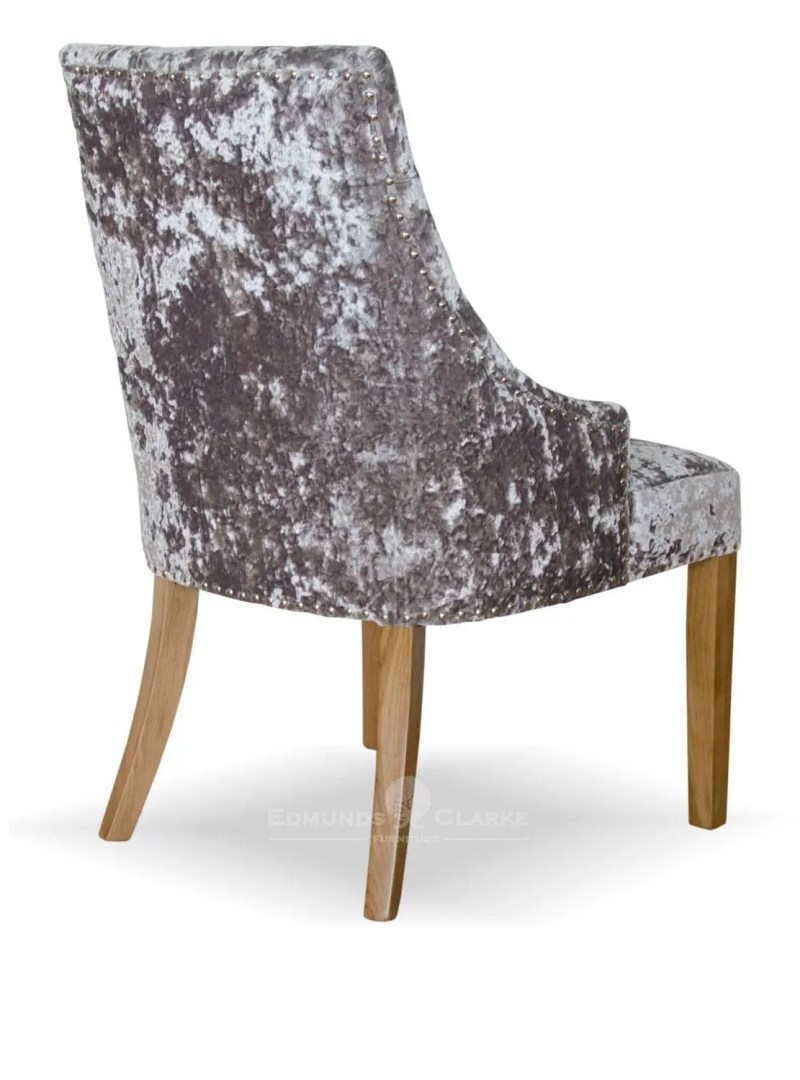 Bergen Silver Deep crushed velvet dining chairs with button back, studded edges and oak legs