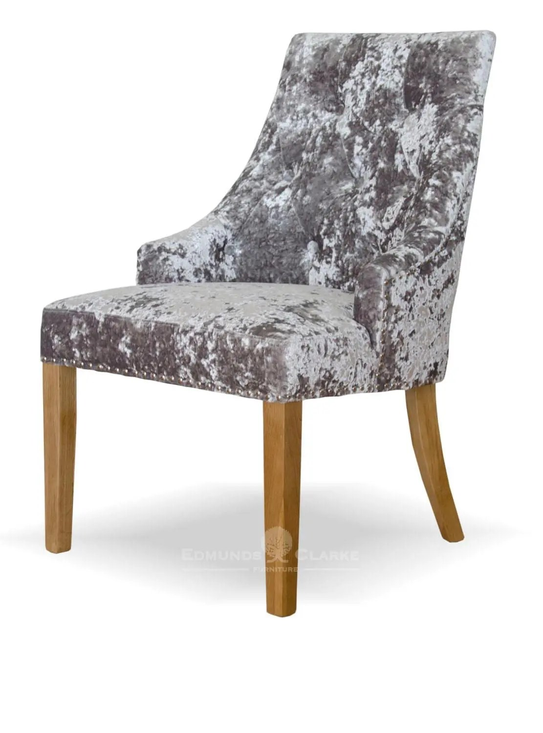 Studded Dining Chairs Bergen Silver Deep Crushed Velvet Dining Chair Edmunds Clarke Ltd
