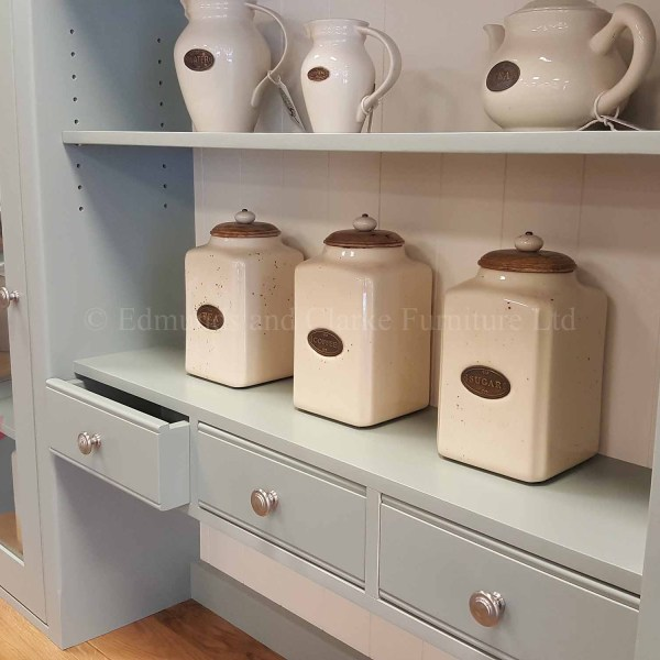 Painted glazed dresser with small spice rack drawers