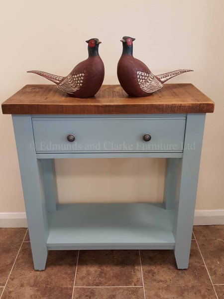 Painted one drawer console table with shelf below