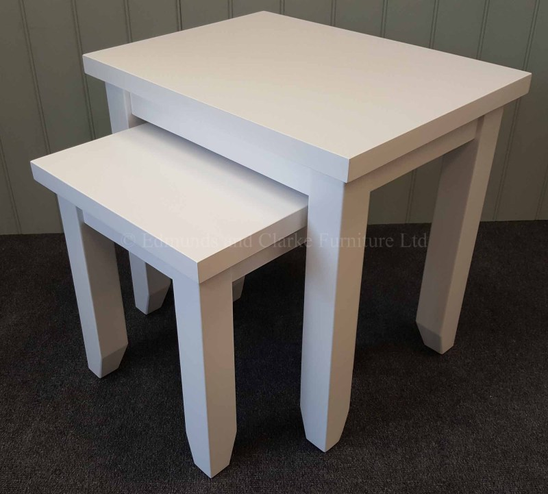 Nest of two tables painted white all over, square edge design