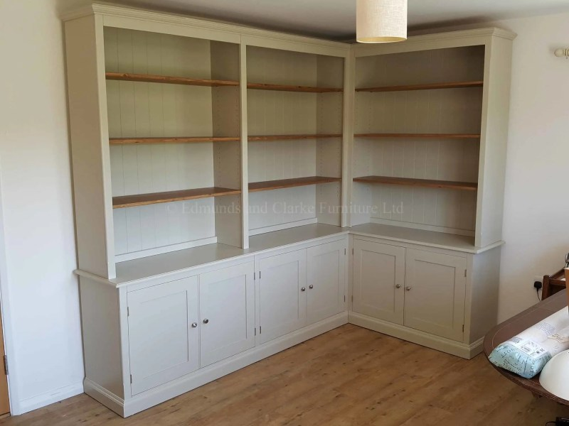 Made to measure corner library bookcase, cupboards below adjustable shelves above