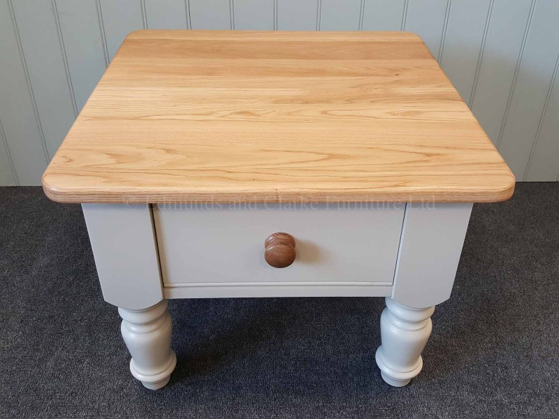 Painted coffee table with drawer, turned legs oak top
