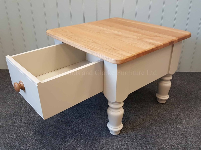 Edmunds painted 2' x 2' turned leg coffee table painted with oak top
