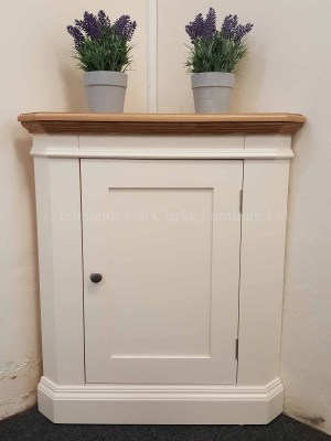 Edmunds Painted Corner Base Cupboard. top also available. oak top and 1 door. choice of handles and paint colours