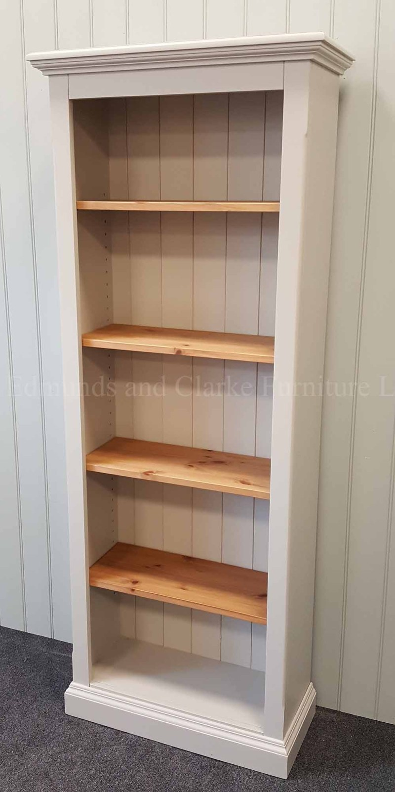 Painted bookcase with adjustable shelves