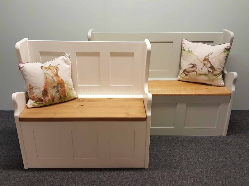 hallway seats with lift up lid for storage, painted with wooden seats