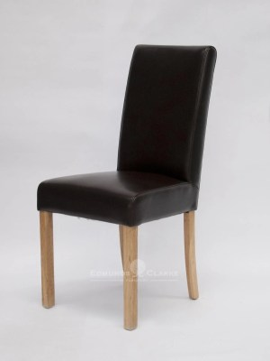 Mariana Brown Bycast Leather dining chair with high back and oak legs