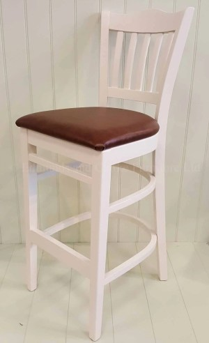 Edmunds Painted Stamford Bar Stool. painted with faux leather seat pad . ideal for kitchen island or breakfast bar