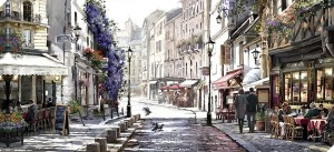 Sunlit cafes canvas, bring a bit of parisian style to your home measure 135 x 60 cm by MacNeil Studio