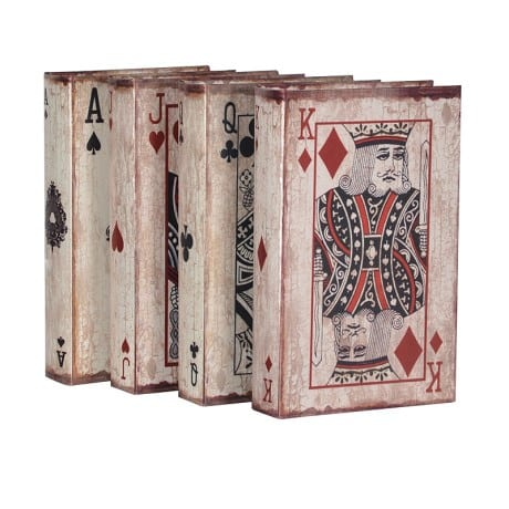 Set of four playing cards book boxes. perfect retro accessory for any bookcase EGN074