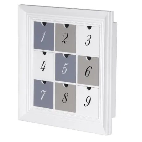 white 9 drawer wall cube. numbered drawers. light weight for easy wall hanging. perfect for craft or hobbies NSA038