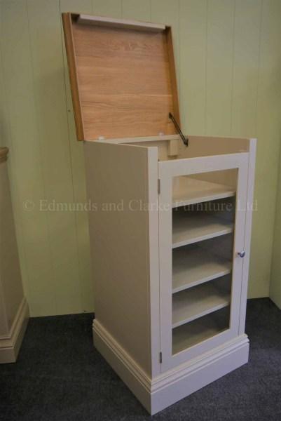 Hinged lift up lid record player storage, glazed hifi cabinet