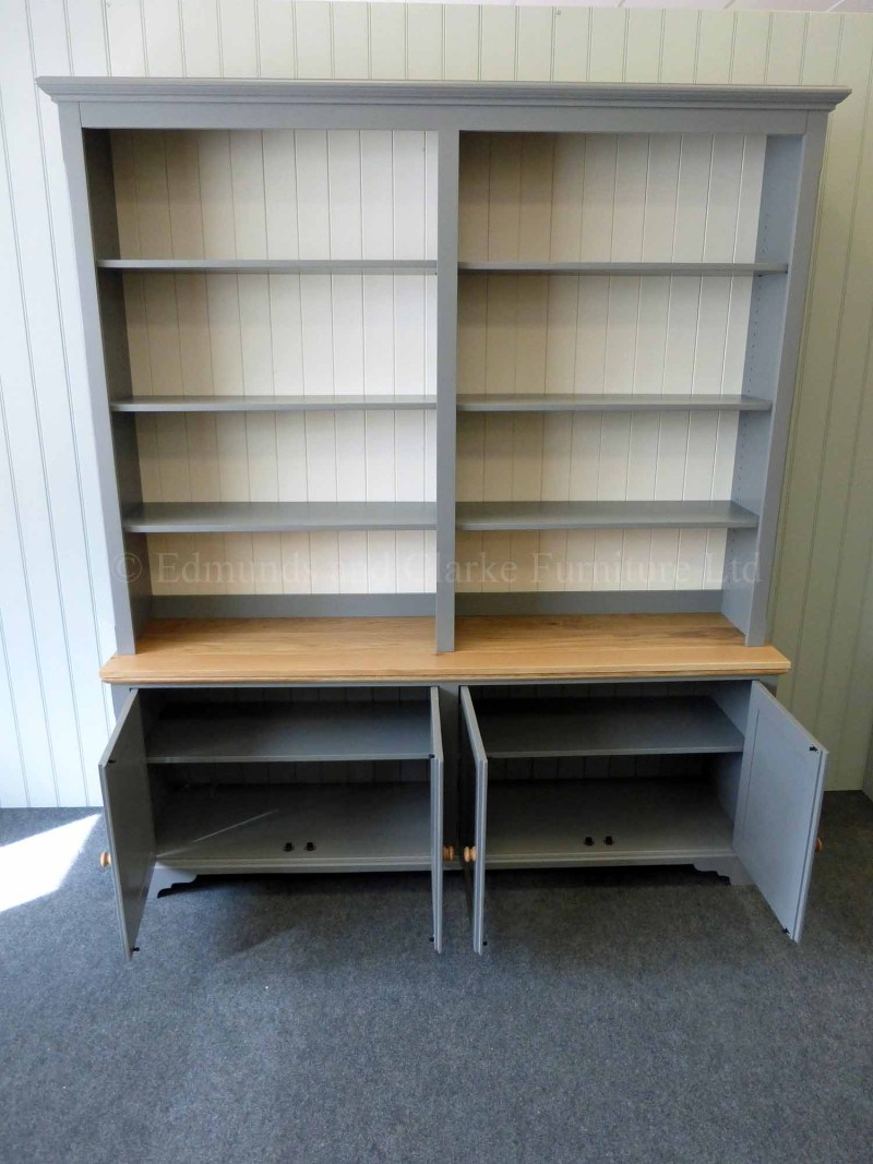 Library bookcase painted with oak top, four cupboard doors below and adjustable shelving above
