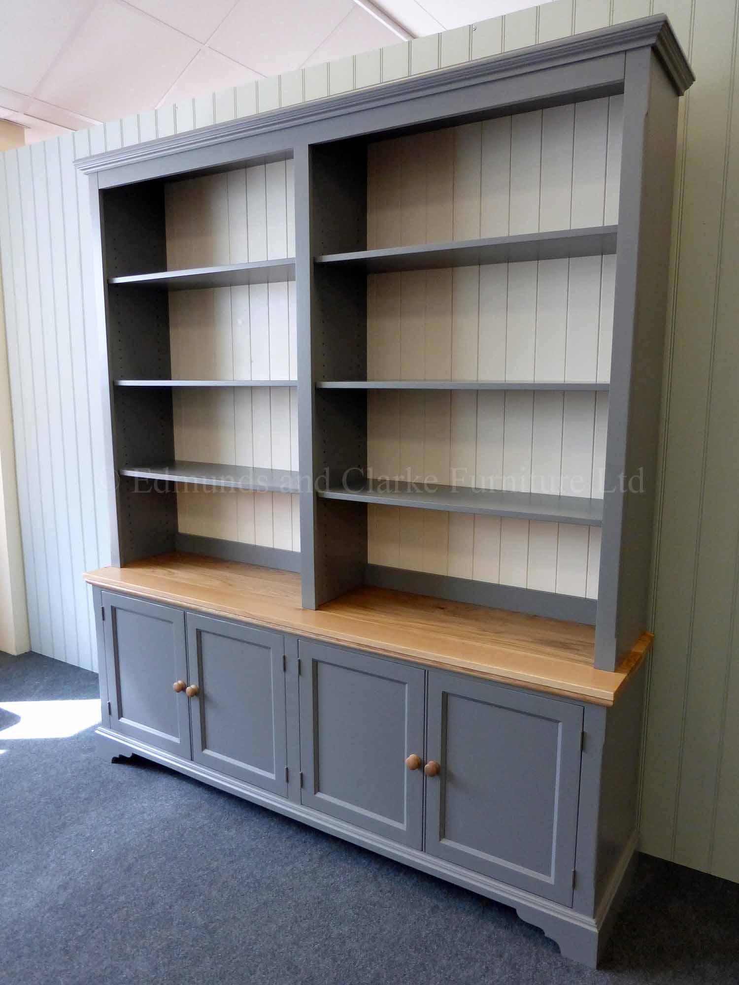 Bespoke Painted 4 Door Library Bookcase   Edmunds & Clarke Ltd