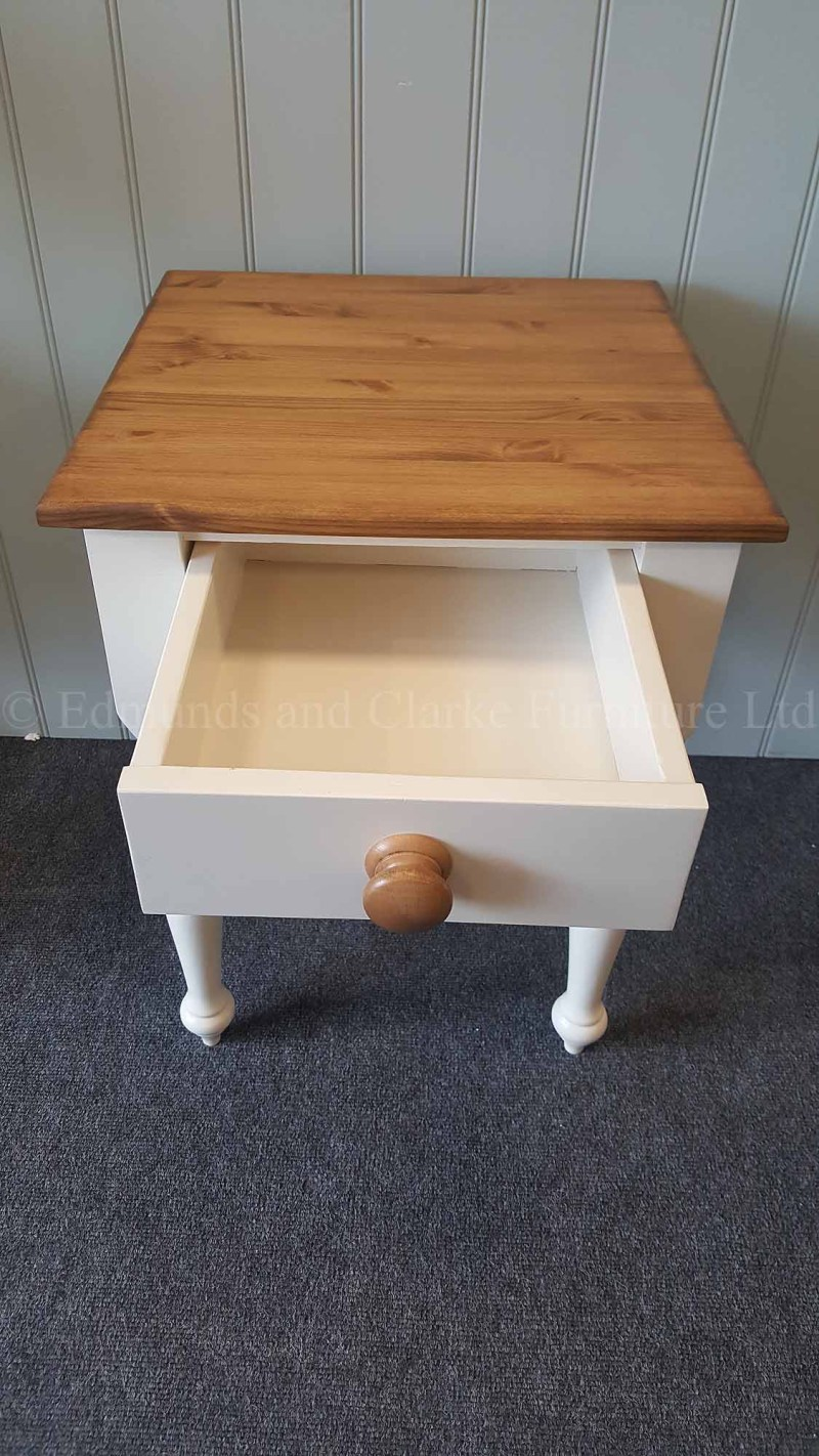 Square pine painted lamp table with single drawer and turned legs