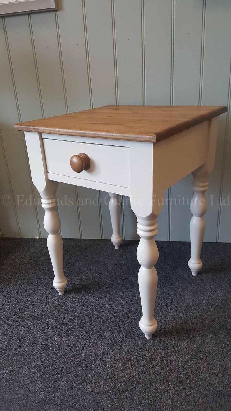 Lamp table painted with choice of colours, tops, and handles