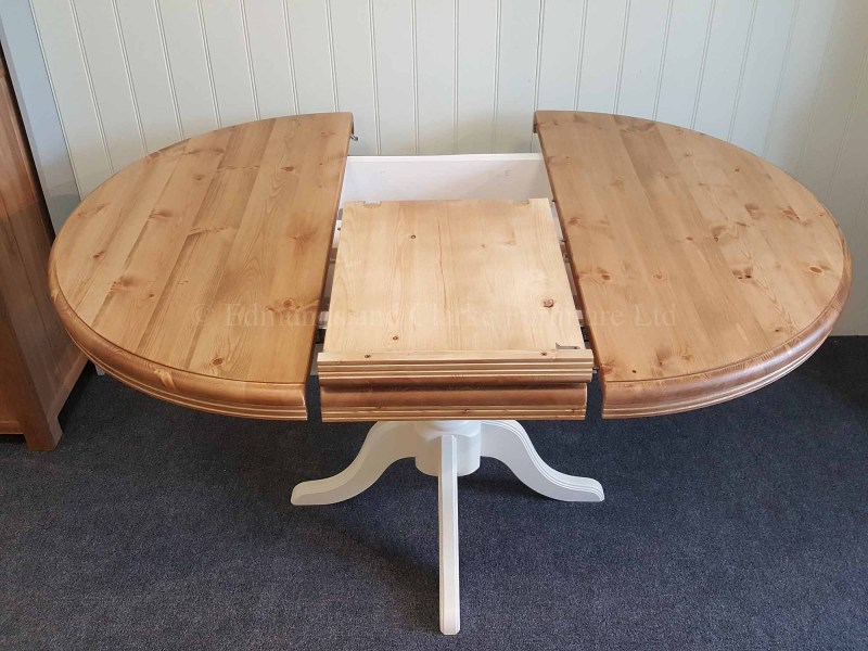 Round pine painted extending table with central pedestal, choice of colours available