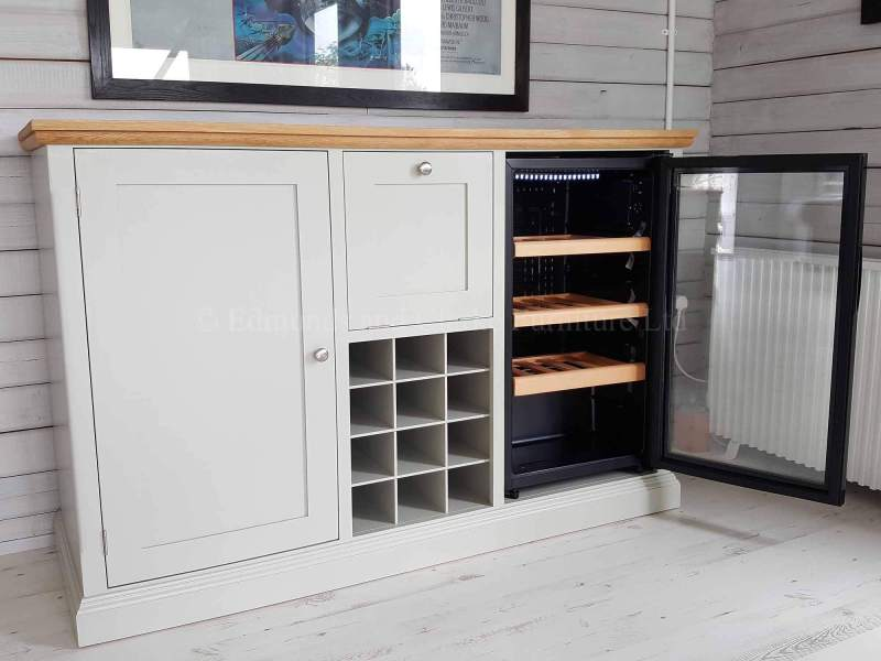 Edmunds painted bespoke sideboard with fridge and wine rack incorporated