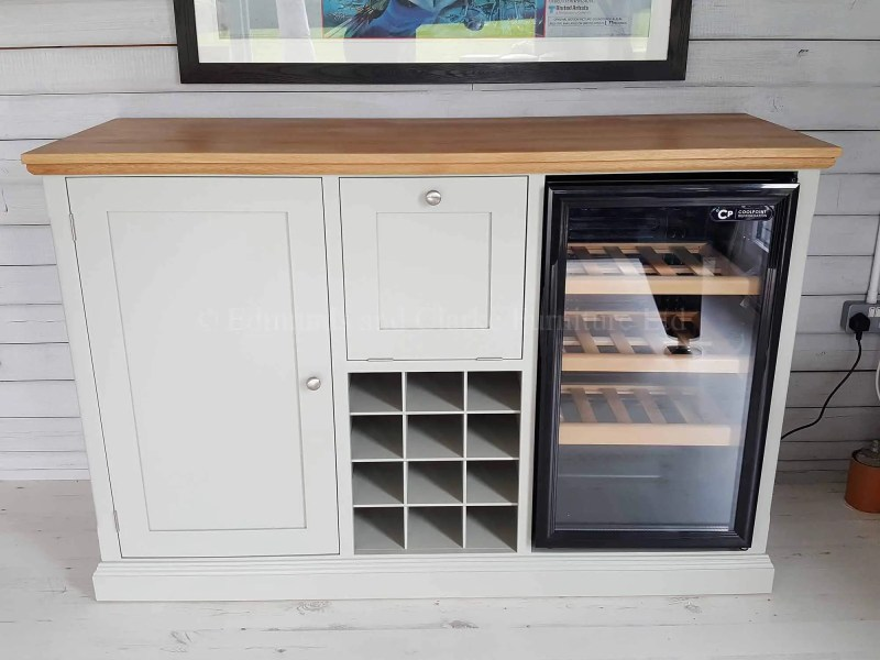 Sideboard with wine rack, and space for wine chiller, painted with oak top