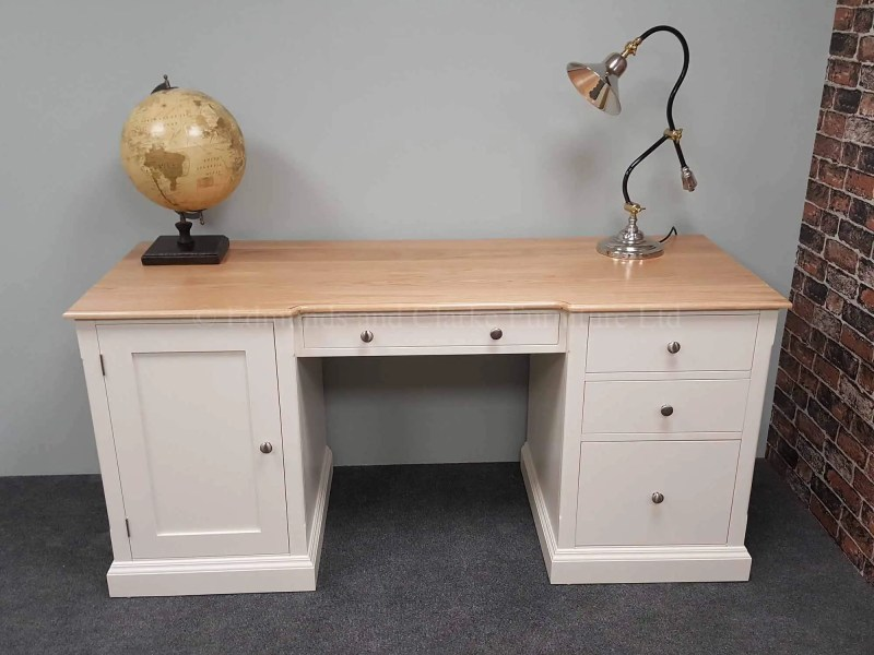 Edmunds painted double pedestal desk, drawers and doors with filing cabinets for large files A4 foolscap. choice of tops and handles. image shows 18mm lacquered oak top