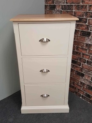 edmunds painted filing cabinet with 3 drawers, 18mm oak top and satin chrome cup handles. painted wells white but 10 colours available. painted or pine tops also available