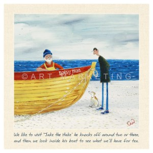 AC1335 what's the catch small canvas of man in boat