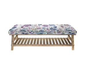 Voyage Rupert Stool / Bench - alnwick garden fabric seat, slatted frame underneath for shoes