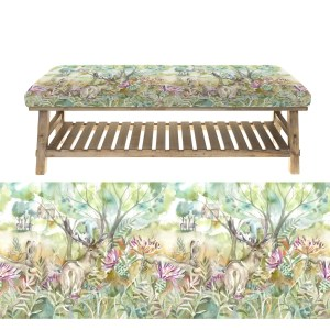Voyage Rupert Stool / Bench - stag and hare fabric seat, slatted frame underneath for shoes