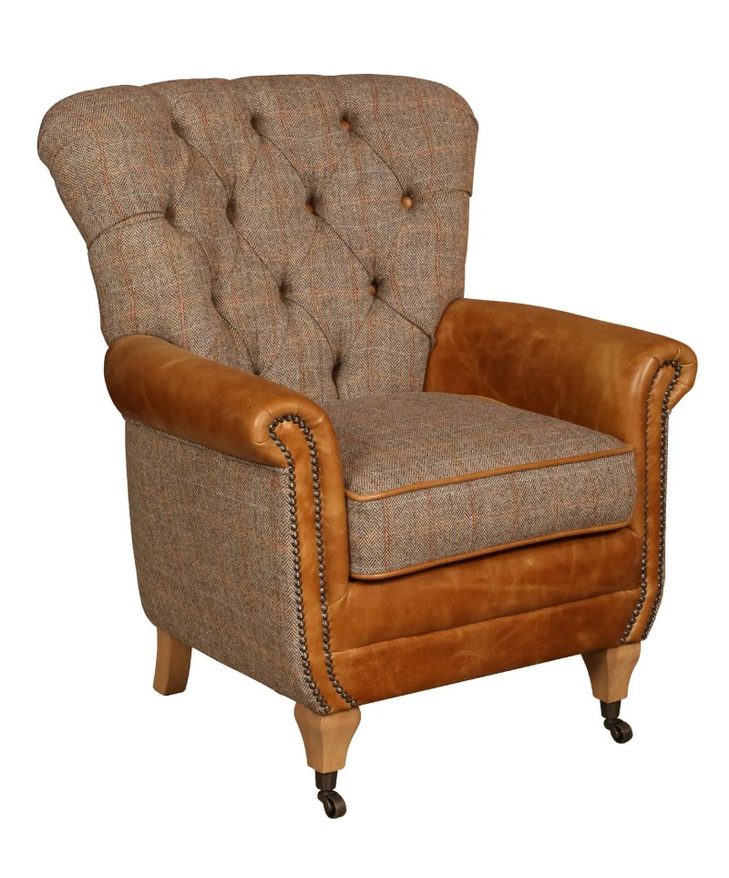 Vintage Sofa Company Plumtree Fast Track Chair hunting lodge tweed and cerato brown leather armchair