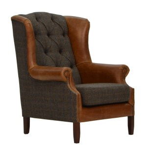 Vintage Sofa Company Wing Fast Track Chair moreland tweed and cerato brown leather chesterfield armchair