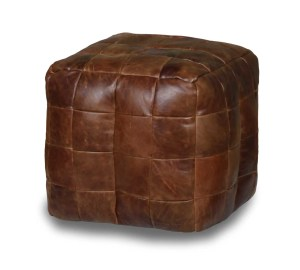 Vintage Sofa Co square cube beanmade made from a patchwork of cerato leather